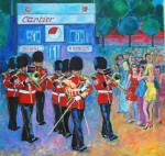 Irish guards band and girls at the Polo