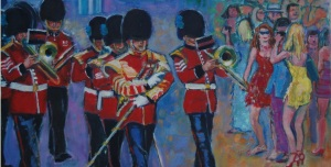 OIL PAINTING OF IRISH GUARDS BAND AND GIRLS, POLO