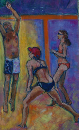 beach volleyball, detail painting, bikini girls