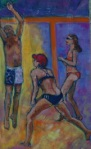 beach volleyball, detail painting