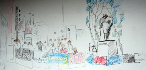 DRAWING 3 LONDON MARATHON SPECTATORS