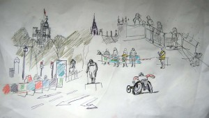 DRAWING 5 LONDON MARATHON SPECTATORS