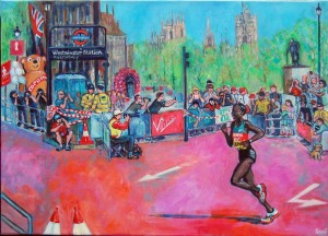 LONDON MARATHON PAINTING woman elite runner
