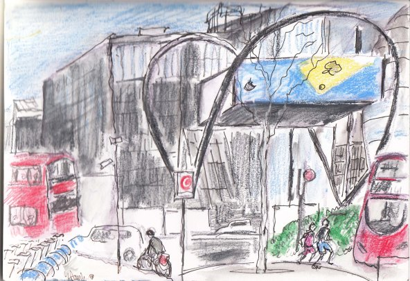 OLD STREET ROUNDABOUT, LONDON, MY SKETCH ON SATURDAY
